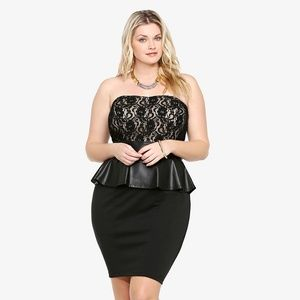 Torrid Lace & Faux Leather Strapless Dress